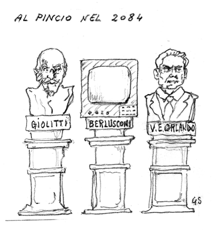 Luigi Simonetta passeggia al Pincio nel 2084